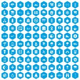 100 mountaineering icons set blue. 100 mountaineering icons set in blue hexagon isolated vector illustration Royalty Free Illustration