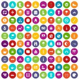 100 mountaineering icons set color. 100 mountaineering icons set in different colors circle isolated vector illustration royalty free illustration