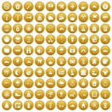 100 mountaineering icons set gold. 100 mountaineering icons set in gold circle isolated on white vector illustration stock illustration