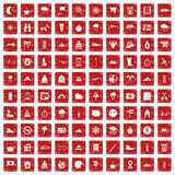 100 mountaineering icons set grunge red. 100 mountaineering icons set in grunge style red color isolated on white background vector illustration royalty free illustration