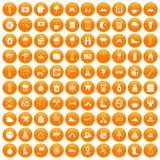 100 mountaineering icons set orange. 100 mountaineering icons set in orange circle isolated on white vector illustration royalty free illustration