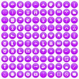 100 mountaineering icons set purple. 100 mountaineering icons set in purple circle isolated on white vector illustration Vector Illustration