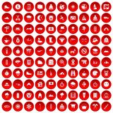 100 mountaineering icons set red. 100 mountaineering icons set in red circle  on white vector illustration Royalty Free Stock Photos