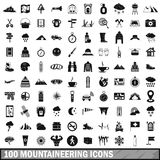 100 mountaineering icons set, simple style. 100 mountaineering icons set in simple style for any design vector illustration Royalty Free Stock Photography