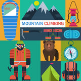 Mountaineering icons vector Stock Image