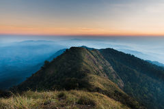 Mountaineering morning. A large stone mountain, DOI nok in the National Park. DOI Luang district in the East side, adjacent to the West side, phayao, Lampang Stock Photo