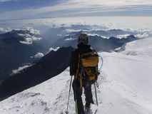 Mountaineering. In the alps Royalty Free Stock Image