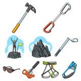 Mountaineering related icon set Stock Image
