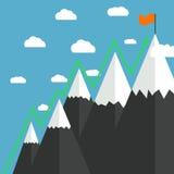 Mountaineering Route. Goal Achievement Royalty Free Stock Photo