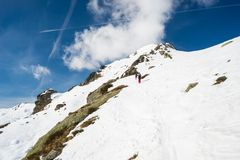 Mountaineering towards the mountain top Royalty Free Stock Photo