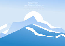 Mountaineering and Traveling Vector Illustration. Landscape with Mountain Peaks. Extreme Sports, Vacation and Outdoor Recreation C Royalty Free Stock Photos
