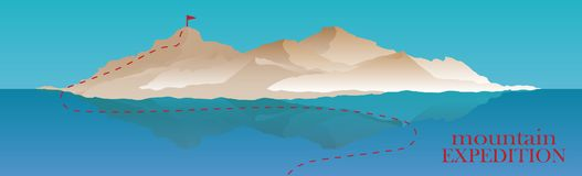 Mountaineering and Traveling Vector Illustration. Landscape with Mountain Peaks and water ocean or sea, lake. Extreme. Mountaineering and Traveling Vector Stock Photos