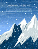 Mountaineering and travelling banner. Mountains landscape. Winter adventure cover. Climbing, hiking, trekking, outdoor vacation or extreme winter sports banner Royalty Free Stock Image
