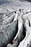 Mountaineers on Gorner-Glacier royalty free stock photography