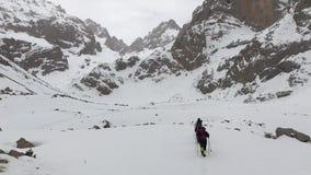 Mountaineers hiking. At Aladaglar National Park in Nigde, Turkey. Aladaglar is most important mountain range in Turkey stock video footage