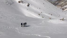 Mountaineers hiking. At Aladaglar National Park in Nigde, Turkey. Aladaglar is most important mountain range in Turkey stock footage