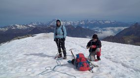 Alpinists in the Alps stock video