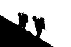 Mountaineers silhouette Stock Image