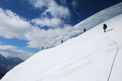 Mountaineers on the slope Royalty Free Stock Image