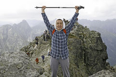 Mountaineers in Slovakia. High mountains at Slovakia, Central Europe. Mountaineers in Slovakia Stock Photos