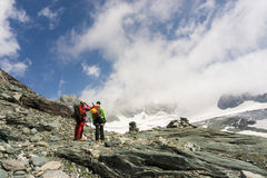 Mountaineers on their way to climb Grossglockner Royalty Free Stock Images