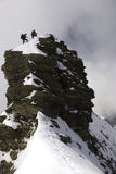 Mountaineers on the top. Of the peak royalty free stock photos