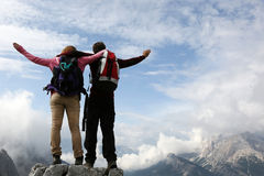Mountaineers on top of a mountain Stock Images