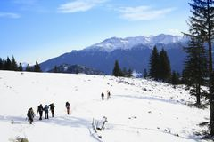 Mountaineers on a trail. Trekking in Pioana Zanoaga from Piatra Craiului mountains Stock Image