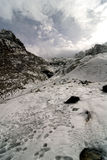 Mountaineers trail on the glacier. Royalty Free Stock Photos