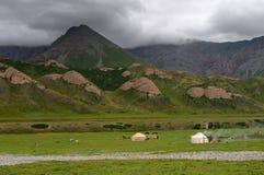 mountaines阴暗牧场地 图库摄影