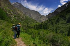 Mountaines & waterfall. Bash-Kaindy, Shaar waterfall, Kyrgyzstan, At-Bashi sierra, Tien-Shan Stock Photo