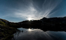 Mountainlake Moonset Royaltyfria Bilder
