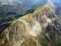 Mountainous background. Aerial view of ridge in mountain range stock photo