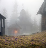 Mountainous Carpathian wooden church Stock Images