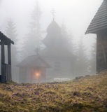 Mountainous Carpathian wooden church Stock Photography