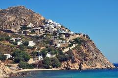 Mountainous coastal landscape of greek island mykonos, greece Royalty Free Stock Image