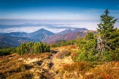 Mountainous country with valleys. stock photo