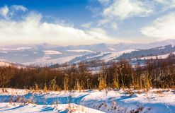 Mountainous countryside on bright winter day. Lovely Carpathian landscape Stock Photos