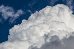 Mountainous Cumulus Clouds Boiling in the Bright Blue Summer Sky. Mountainous White Cumulus Clouds Boiling in the Bright Blue Summer Sky Royalty Free Stock Image