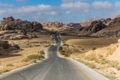 Mountainous curvy roads in Jordan. Mountainous curvy road near the ancient city of Petra, Jordan royalty free stock photography