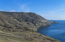 Mountainous desert shore. Crimea. Stock Photos
