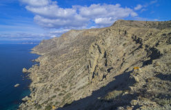 Mountainous desert shore. Crimea. Royalty Free Stock Photography