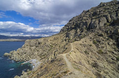Mountainous desert shore. Crimea. Royalty Free Stock Photos