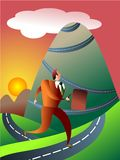 The mountainous journey. Perseverance concept - executive people series Royalty Free Stock Photo
