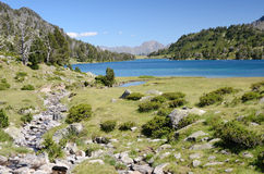 Mountainous lake d'Aumar in the French Pyrenees Royalty Free Stock Image