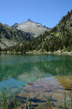 Mountainous lake Les Laquettes in the French Pyrenees Royalty Free Stock Photo