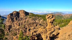 Mountainous landscape with blue sky from the summit of Gran canaria, Canary islands. Landscapes from the summit of Gran canaria Stock Photo