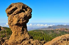 Rocky formation with blue sky from the summit of Gran canaria, Canary islands Stock Photography