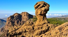 Mountainous landscape with blue sky from the summit of Gran canaria, Canary islands Stock Photo