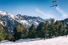 Mountainous landscape with chair lift Stock Images